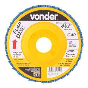 Disco-de-Desbaste-e-Acabamento-Vonder-Flap-disc-4.1-12--Grao-40-Costado-Plastico